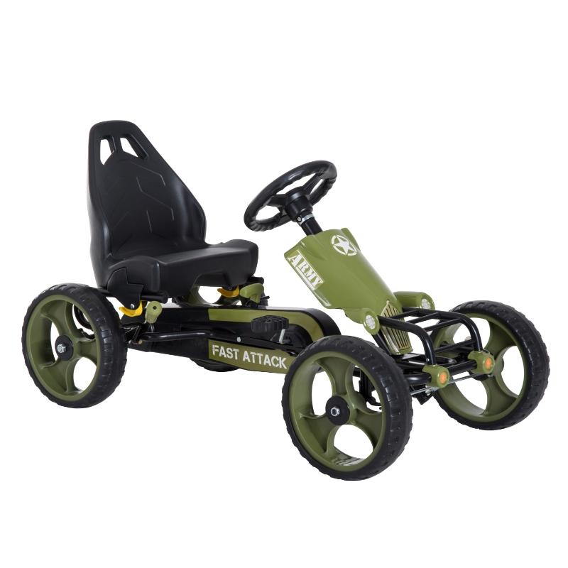 Homcom Pedal Go Kart Children'S Go Karts W/Hand Brake -Green