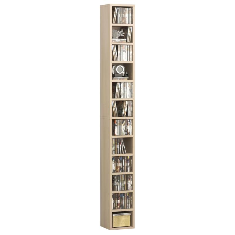 HOMCOM 21L×20W×175H cm Multimedia Shelf-Pine Wood Colour