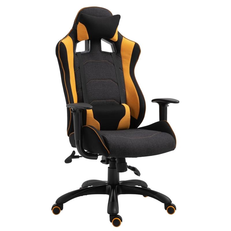 Vinsetto Polyester Ergonomic Gaming Chair w/ Adjustable Pillow Orange