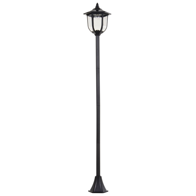 Outsunny 1.77m Tall Free-Standing ABS Garden Solar LED Lamp Post Black