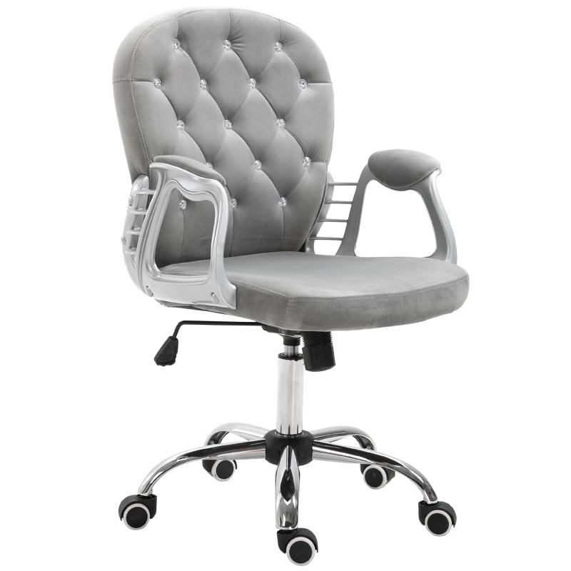 Vinsetto Velour Office Chair Diamante Tufted Padded Ergonomic 360° Swivel Base 5 Castor Wheels Home Work