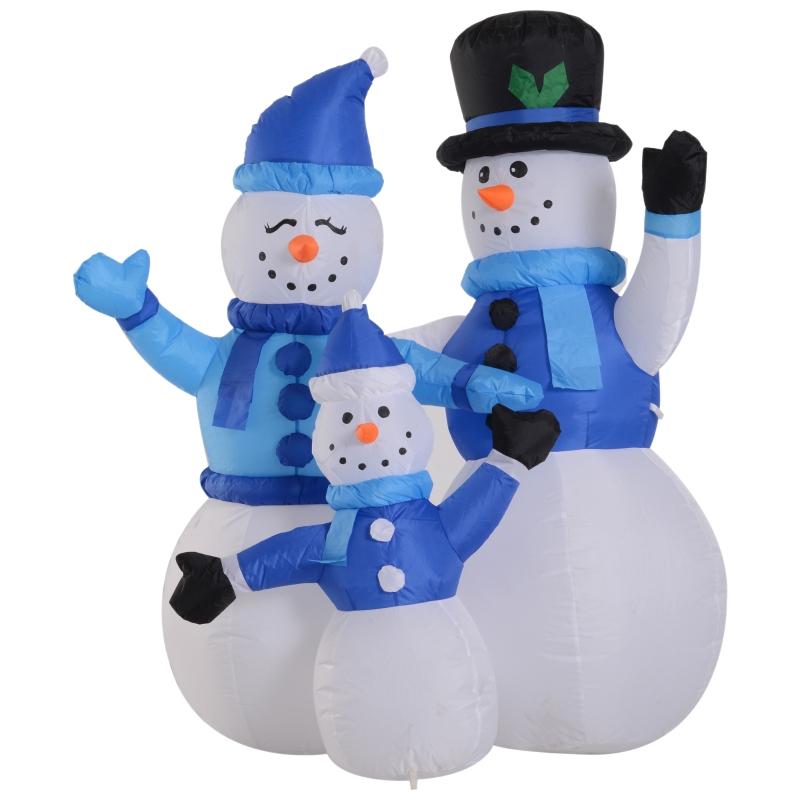 Sneeuwpop familie zelfopblaasbare decoratie led met ventilator blauw