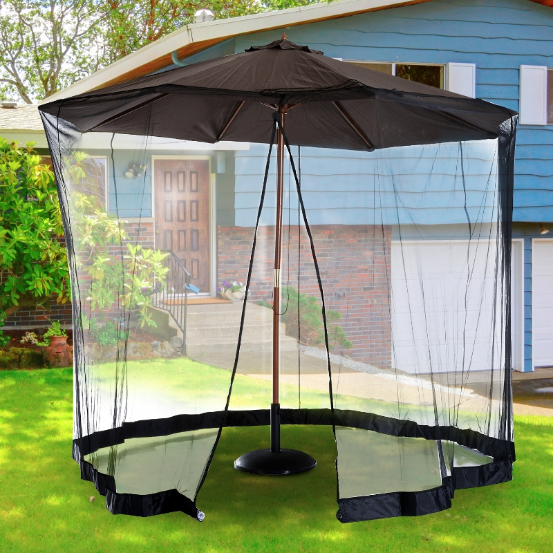 Outsunny 2.3 m Umbrella/Table Mosquito Net-Black