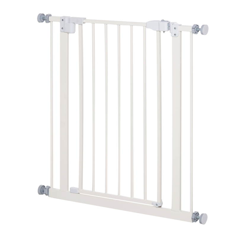 PawHut Pet Safety Gate Pressure Fitted Stair Barrier w/ Auto-Close Double Lock