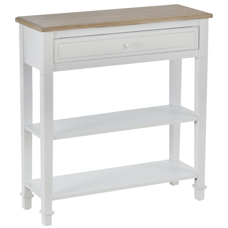 HOMCOM MDF Wide Drawer Console Table White