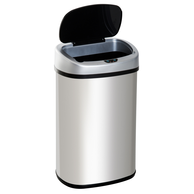 HOMCOM Sensor Dustbin Touchless Rubbish Bin Automatic Garbage Bin Stainless Steel 48L