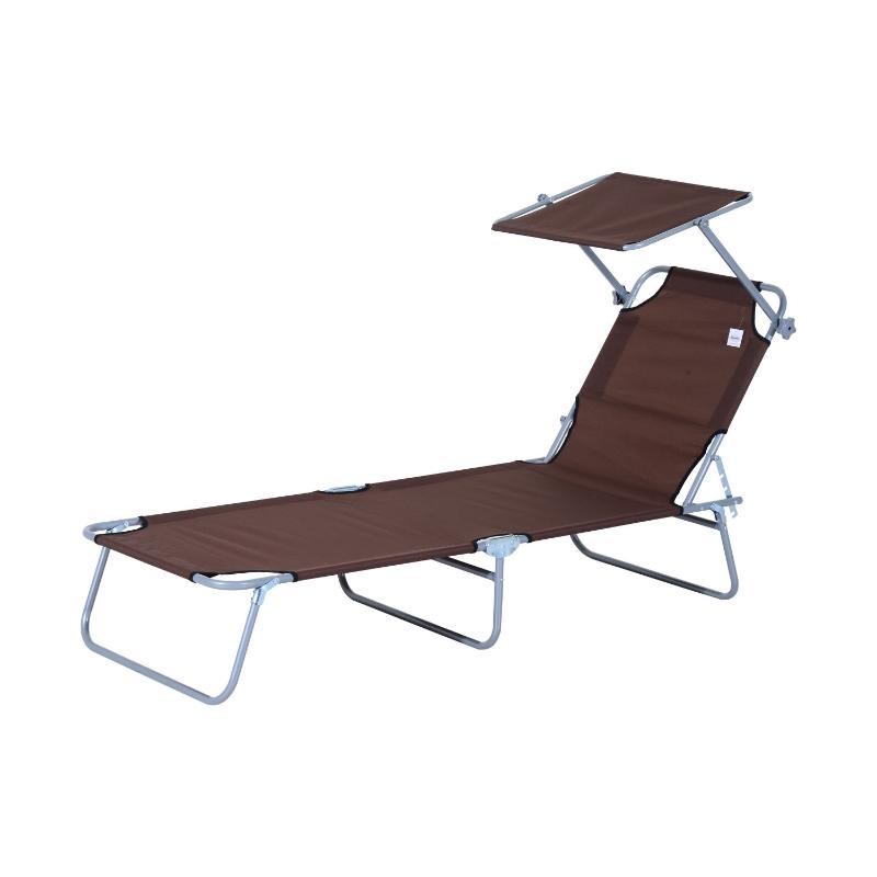 Outsunny ligstoel ligbank voor buiten ligstoel voor op het strand inklapbaar met zonnedak 3 kleuren