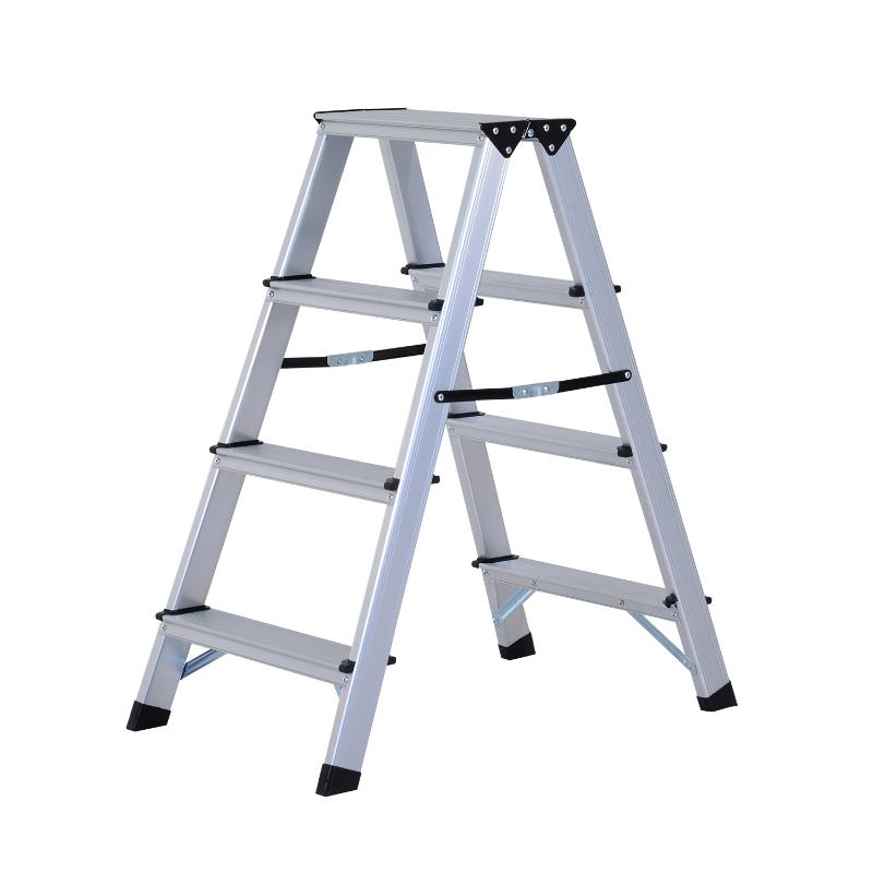 HOMCOM Aluminium Alloy Double-Sided Folding 4-Step Ladder Silver