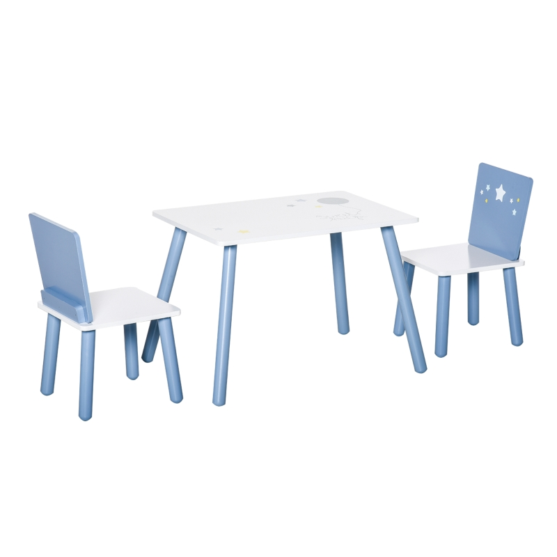HOMCOM Kids Table and Chairs Set 3 Pcs Toddler Wooden Easy Assembly Blue and White