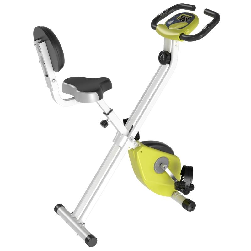 HOMCOM Steel Manual Resistance Exercise Bike w/ LCD Monitor Yellow