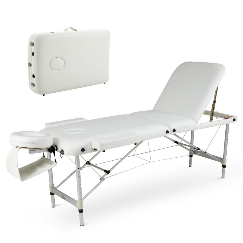 HOMCOM PVC Upholstered Portable Massage Table w/ Carry Case White