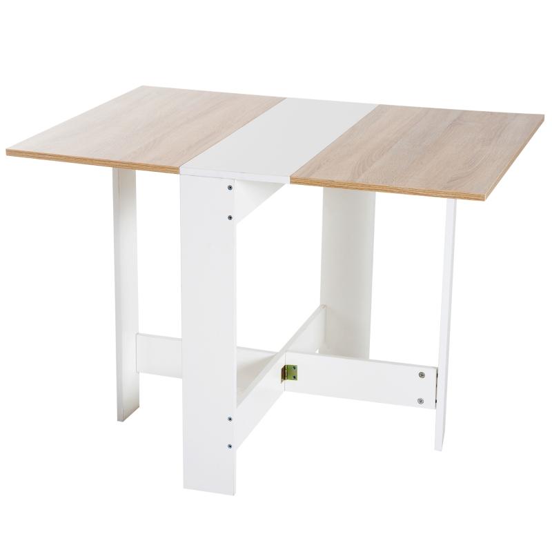 HOMCOM Particle Board Drop Leaf Table-Oak White Colour