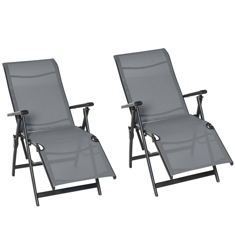 Outsunny Recliner Outdoor Patio Chaise Lounge Chair Adjustable Backrest Set of 2