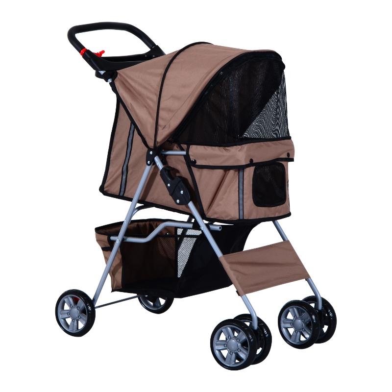 Pawhut Foldable Pet Stroller, Zipper Entry-Brown/Silver