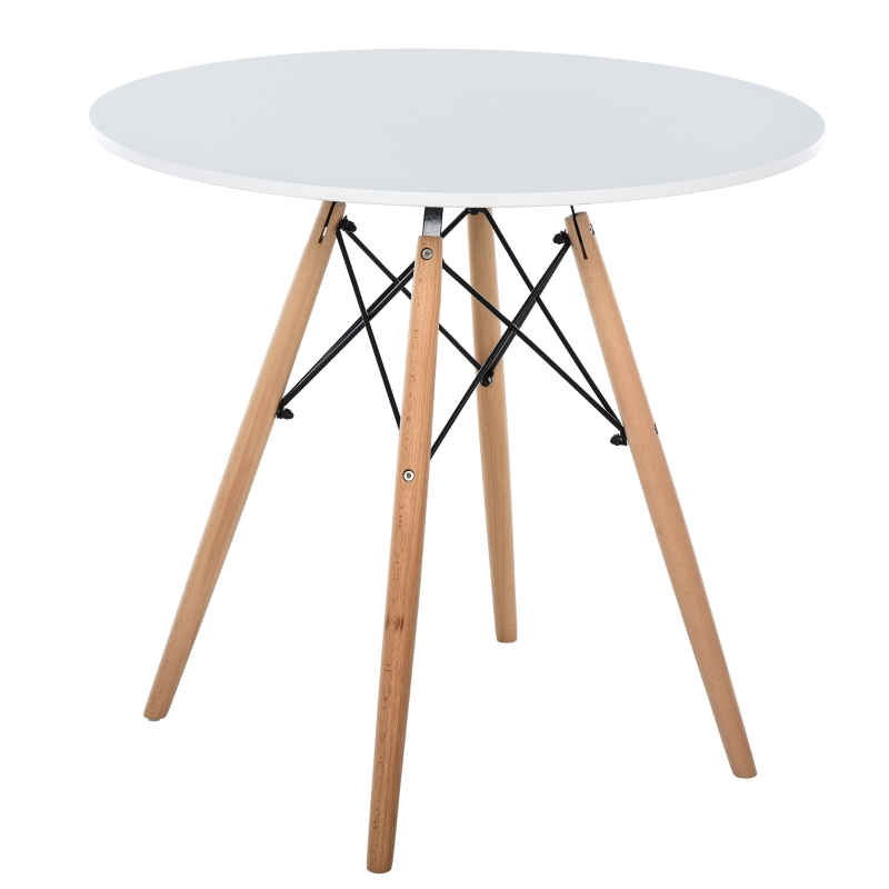 HOMCOM MDF Round Nordic Dining Table White/Brown
