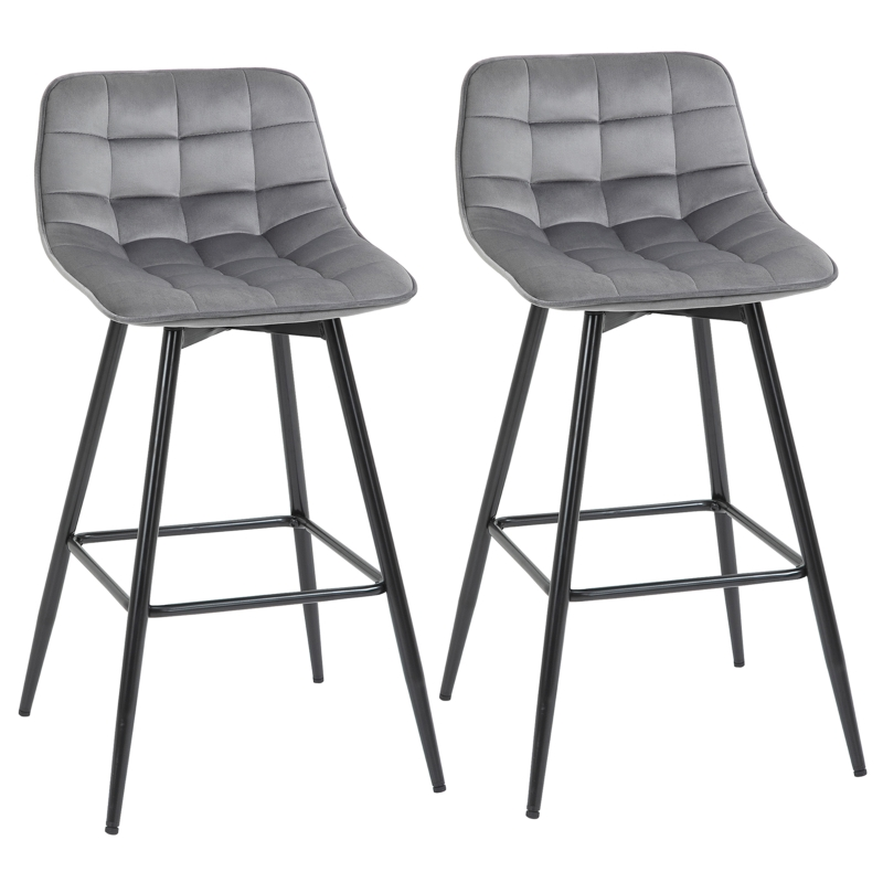 HOMCOM Counter Chairs Set of 2 Dining Chairs Bar Stools Fabric Upholstered seat