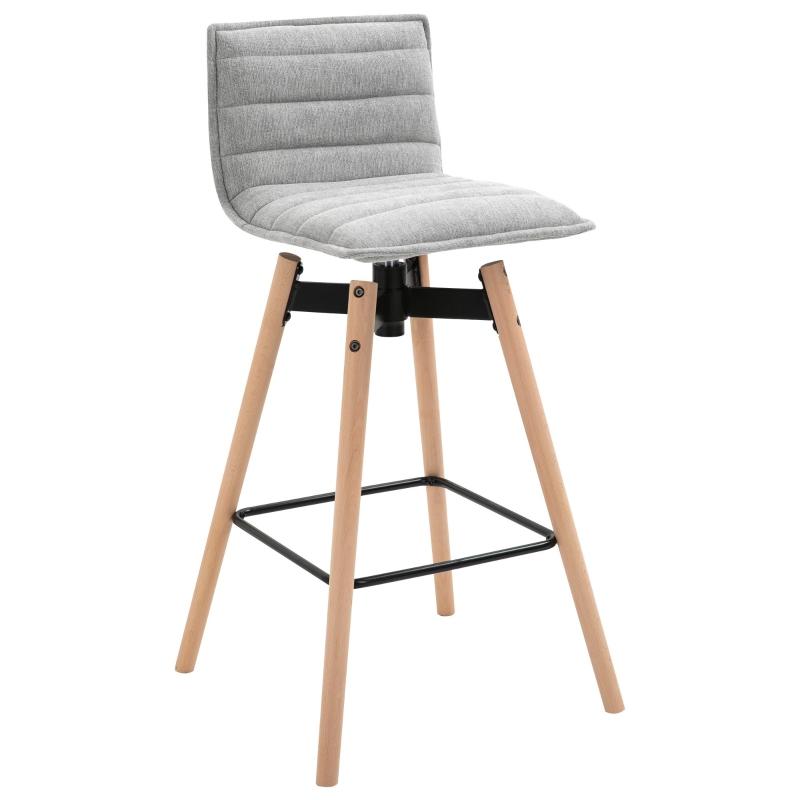 HOMCOM Mid-Century Home Barstool w/ Padded Armless Swivel Chair Wood Frame Grey