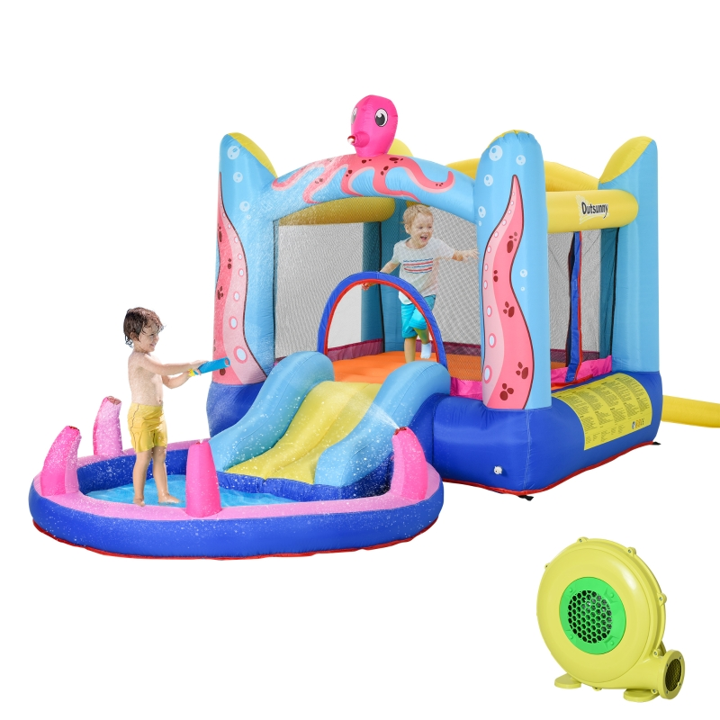 Outsunny Bounce Castle Inflatable Trampoline Slide Pool Octopus Design 3.8 x 2 x 1.8m