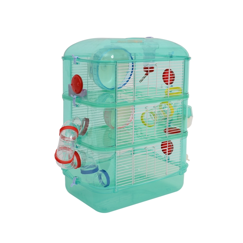 PawHut Plastic 3-Tier Hamster Cage w/ Tunnels Green