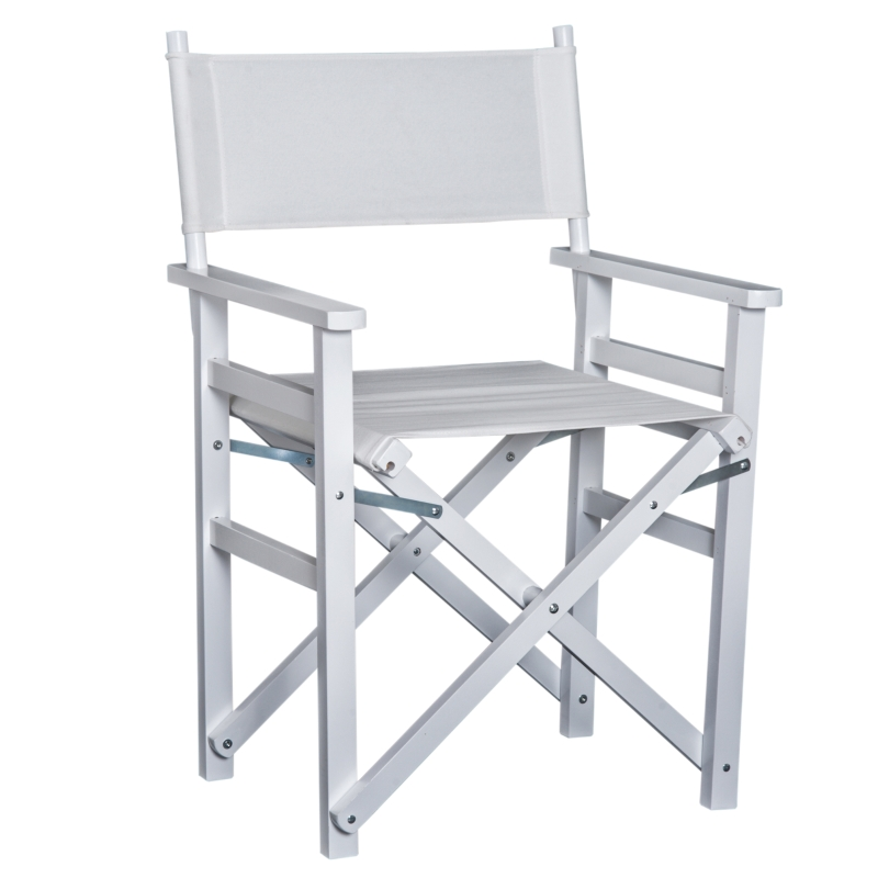 HOMCOM Wooden Director's Folding Chair, Oxford Fabric, Beech,56L-White