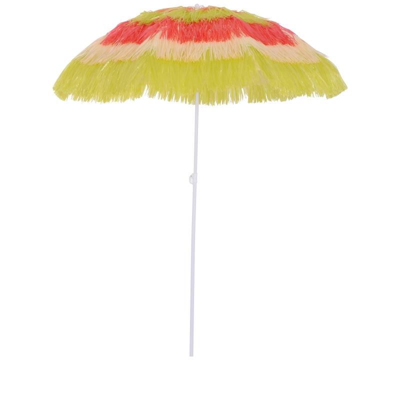 Outsunny Hawaii Beach Umbrella Foldable Parasol-Rainbow