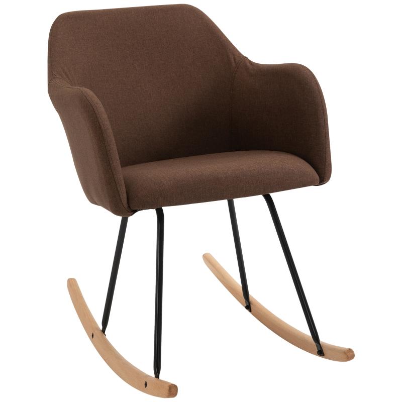 HOMCOM moderne schommelstoel ligstoel linnen schuimstof metaal beuken bruin
