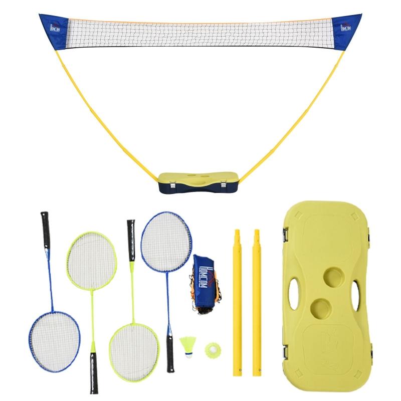 HOMCOM Plastic Portable Badminton Net Blue/Yellow