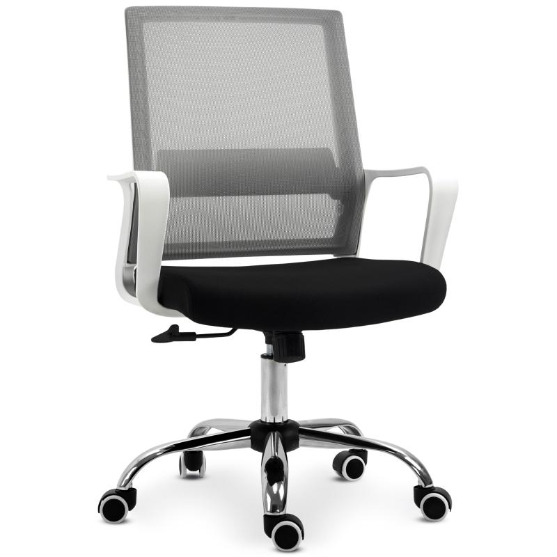 Vinsetto Mesh Back Ergonomic Office Chair w/ Adjustable Height Breathable 360° Swivel - Black/white/grey
