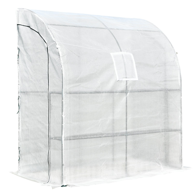Outsunny Walk-In Greenhouse Tunnel Lean To Wall Transparent PE 200x100x215cm