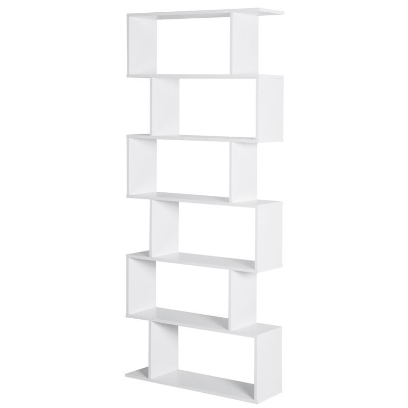 HOMCOM Particle Board 6-Tier Asymmetrical Shelving Unit White
