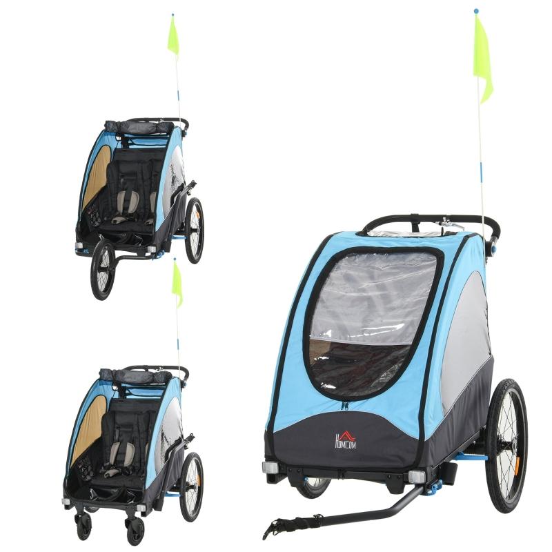 HOMCOM Bike Trailer Stroller Oxford Cloth 3 in 1 Child Bike Trailer Blue