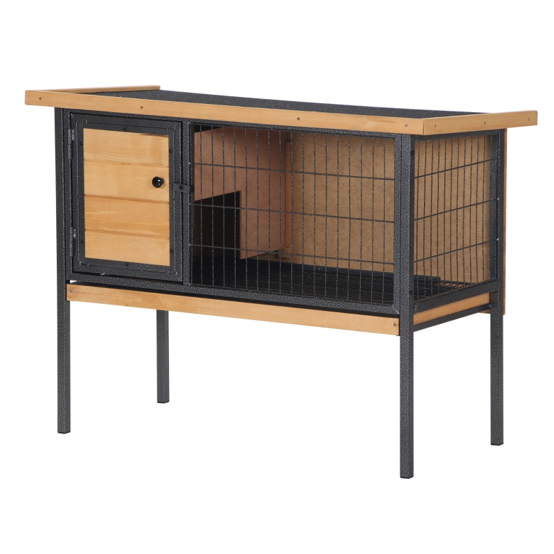 PawHut Wooden Rabbit Hutch Elevated Pet House Bunny with Slide-Out Tray Outdoor Natural