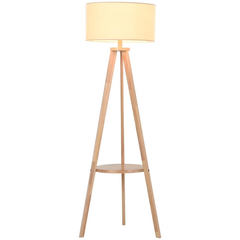Vloerlamp staande lamp vloerlamp met extra rek grenenhout ø 54 x 154 cm