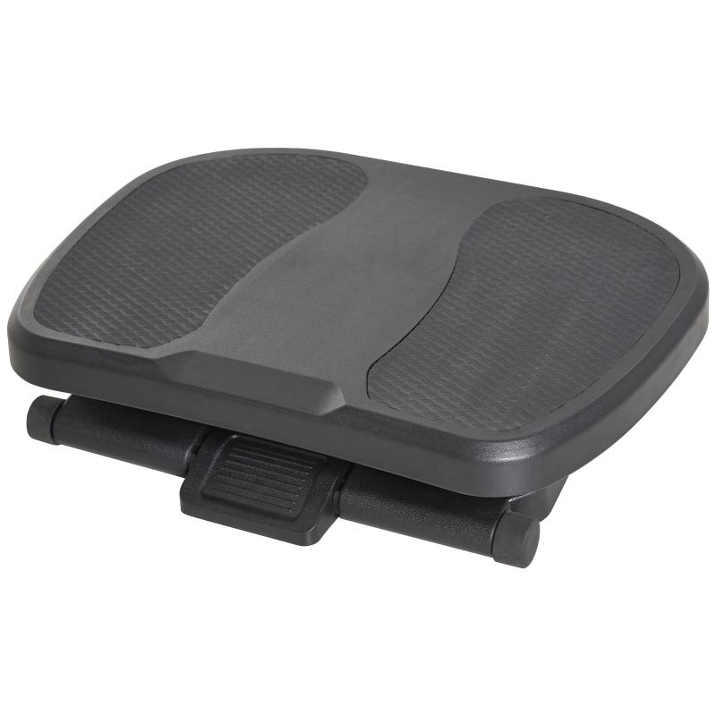 HOMCOM Adjustable Under-Desk Footrest Height Angle Tilt Anti-Slip Compact Health Black