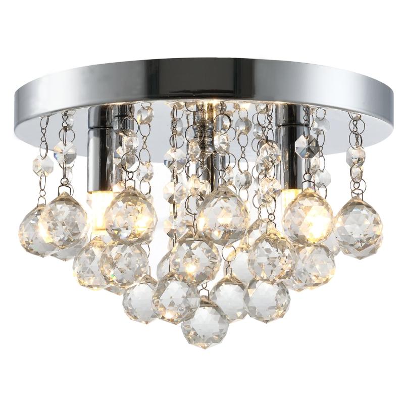 HOMCOM Mini Style Modern Crystal Ceiling Lamp Chandelier for Bedroom Kitchen Silver