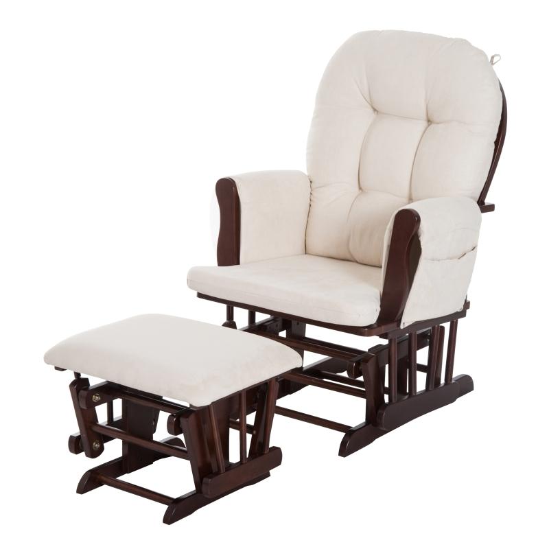 schommelstoel met kruk verpleegstoel schommelstoel synthetisch suède 2 kleuren