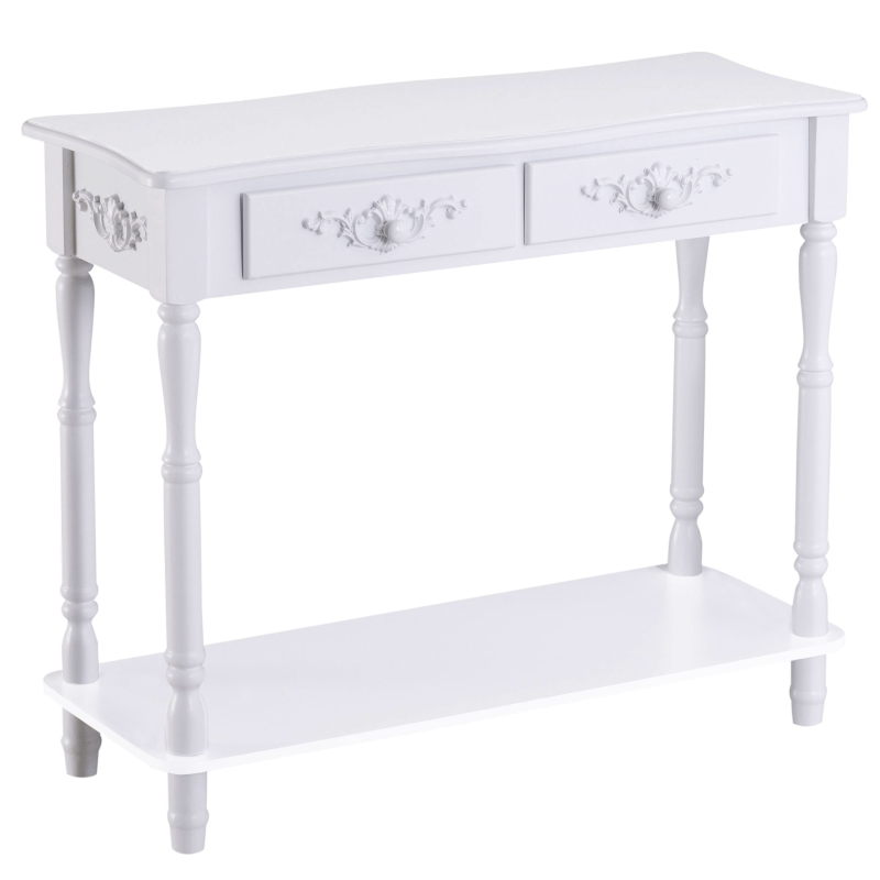 HOMCOM 2 Drawers Console Table-White