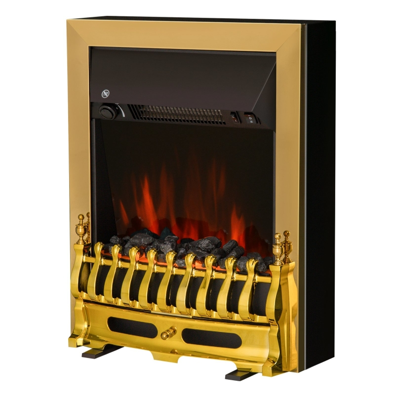 HOMCOM LED Flame Electric Fire Place-Golden