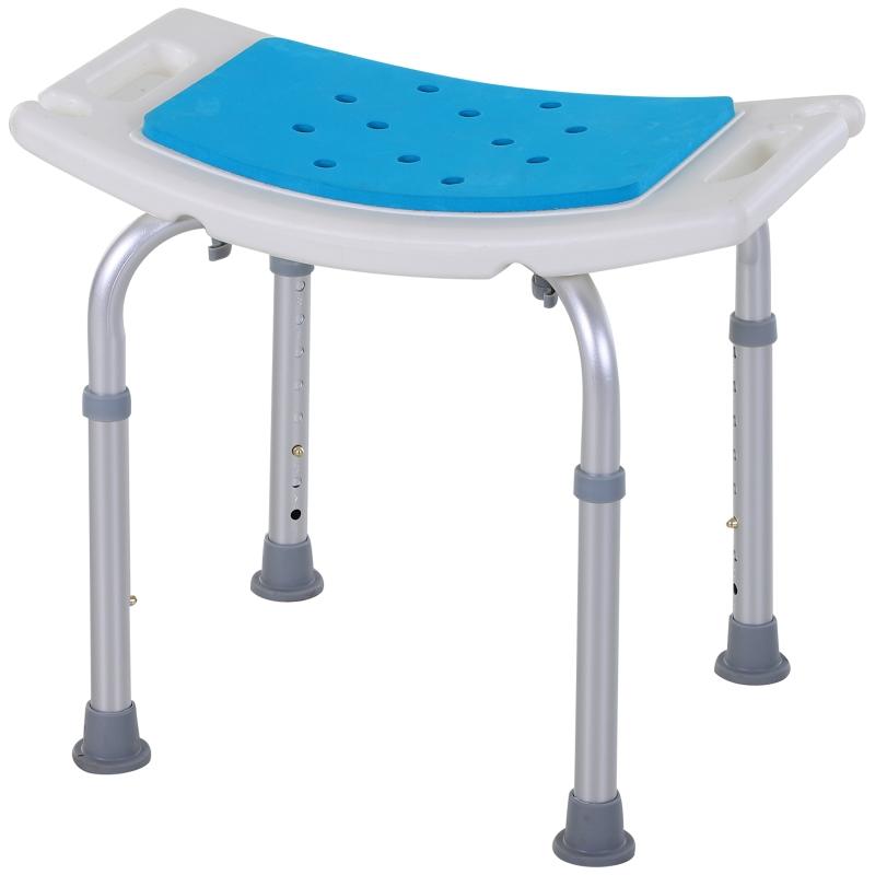 HOMCOM Aluminium Alloy 6-Level Non-Slip Bathroom Stool w/ Drainage Blue