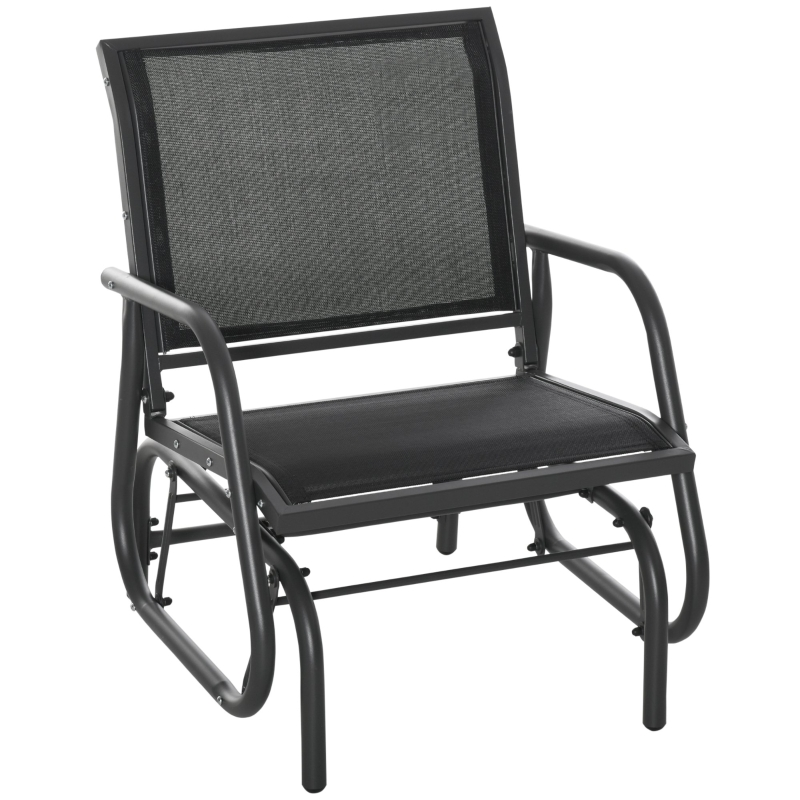 Outsunny Outside Glider Swinging Lounge Chair w/ Weather & UV Resistance Grey Black