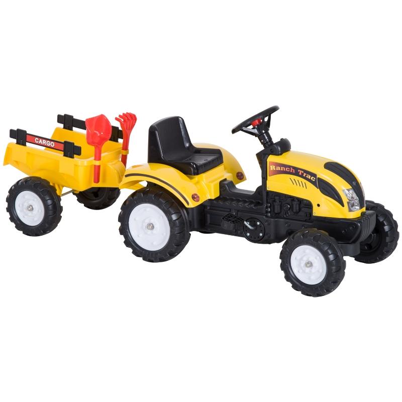 Trapauto met aanhanger tractor traptractor vanaf 3 Jaar speelgoed kinderen geel