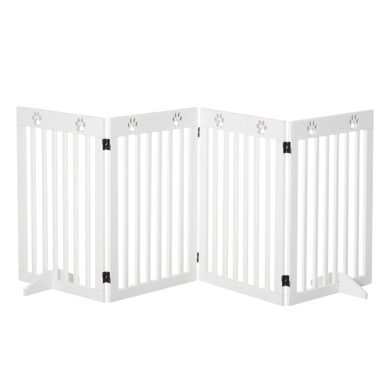 PawHut Wooden Pet Gate Foldable Freestanding Dog Safety Barrier w/ Support Feet
