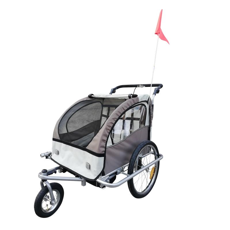 2-in-1 fietskar voor kinderen fietsaanhanger jogger fietskar 360° draaibaar