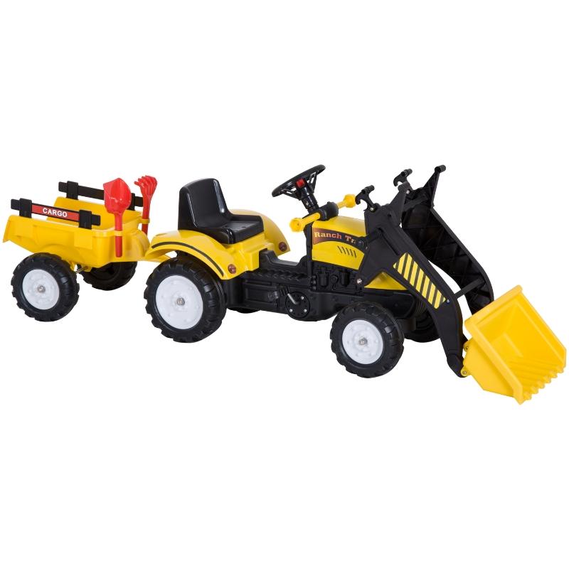 Trapauto met voorlader en aanhanger tractor traptractor vanaf 3 jaar kinderen