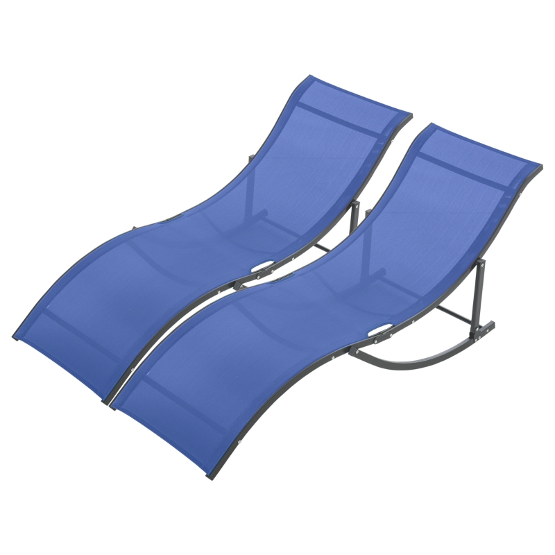 Outsunny Set of 2 S-shaped Lounge Chair Foldable Sleeping Bed 165x61x63cm Navy Blue
