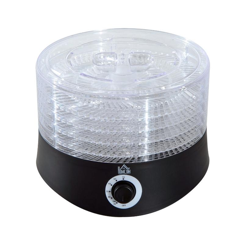 HOMCOM 280W Plastic 5-Tier Fruit Dehydrator w/ Temperature Control Black