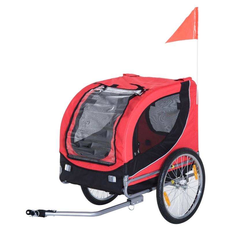 Hondenaanhanger fietskar hondenfietskar rood/zwart