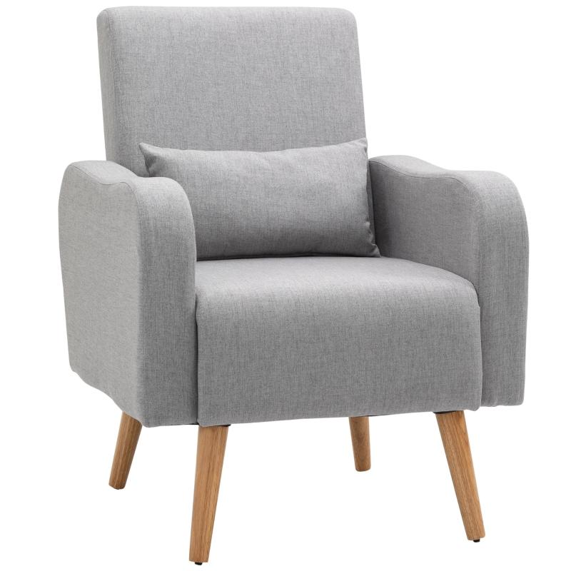 HOMCOM Nordic Armchair Sofa Chair, 72W x 77D x 93Hcm-Grey