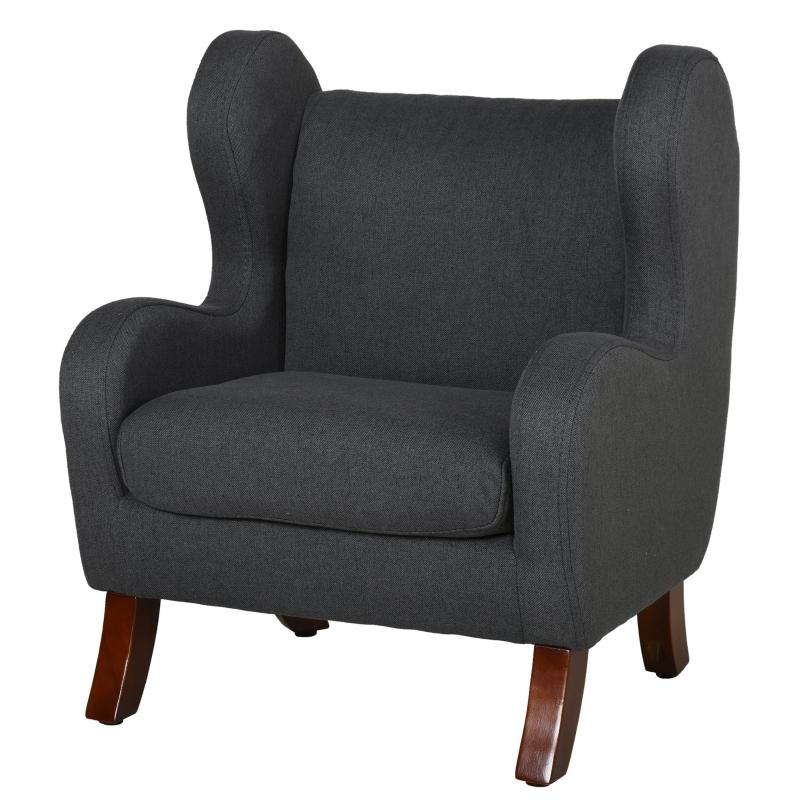 HOMCOM kinderstoel mini-stoel kinderbank voor 3-8 jaar houten poten grijs 45.5x43x56