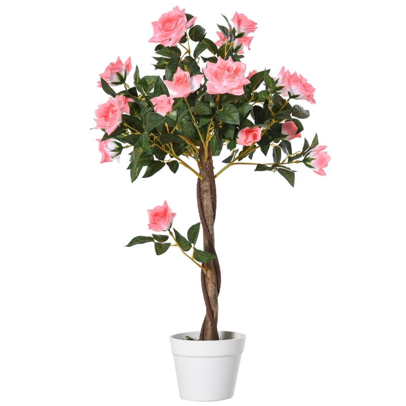 Outsunny Artificial Camellia Plant Realistic Fake Tree Potted Home Office 90cm Pink